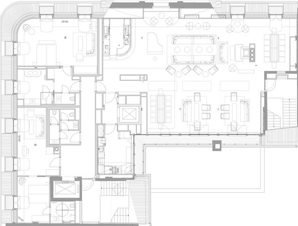 Floor plan picture of the OraniaLoft in the attic of the OraniaBerlin in Kreuzberg