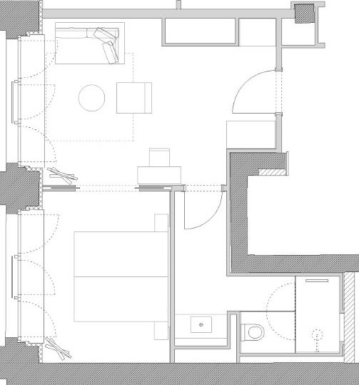 Floor plan of the spacious suite Orania45 with bedroom and living room